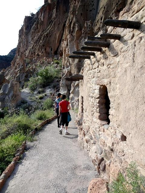 Along the front of Cliff Dwellings