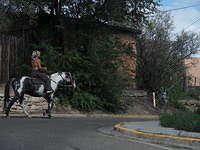 Horseback in downtown Taos