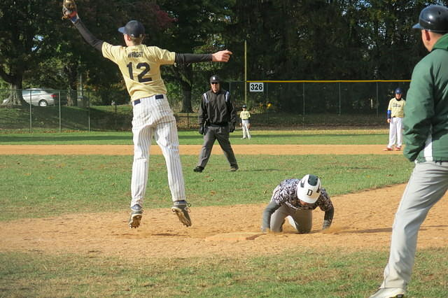 Nathan (now in 9th grade) playing a little 1st base