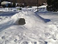 We had a pretty snowy winter. Nathan's igloo.